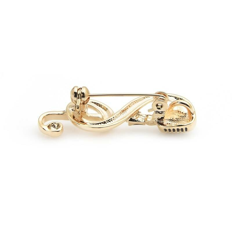 Gold color microphone music note brooch for women Ads WOMEN Ads Women ACCESSORIES Ads Women JEWELRY WOMEN Women ACCESSORIES Womens JEWELRY
