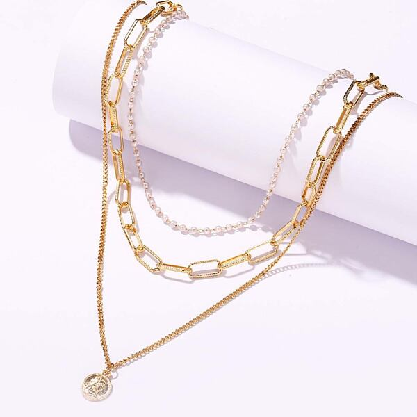 Multiple layer coin pearl necklace for women Ads WOMEN Ads Women ACCESSORIES Ads Women JEWELRY WOMEN Women ACCESSORIES Womens JEWELRY