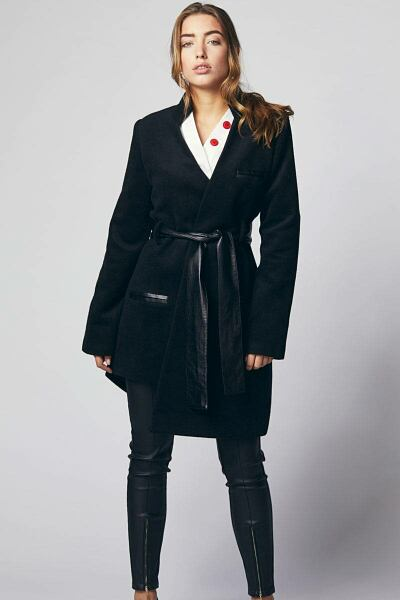 Black women coat with asymmetric cut sample Ads WOMEN Ads Women COATS Ads Women FASHION WOMEN Women FASHION Womens COATS
