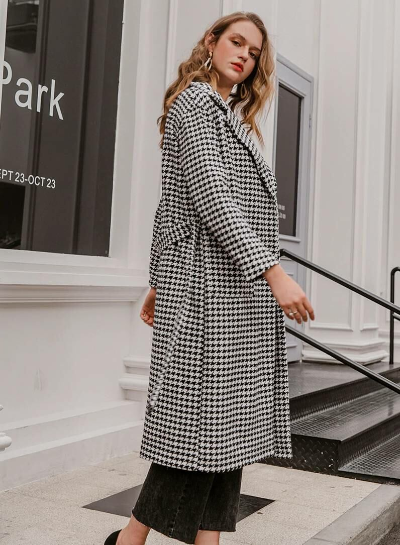 Houndstooth wool winter coat for women Ads WOMEN Ads Women COATS Ads Women FASHION WOMEN Women FASHION Womens COATS