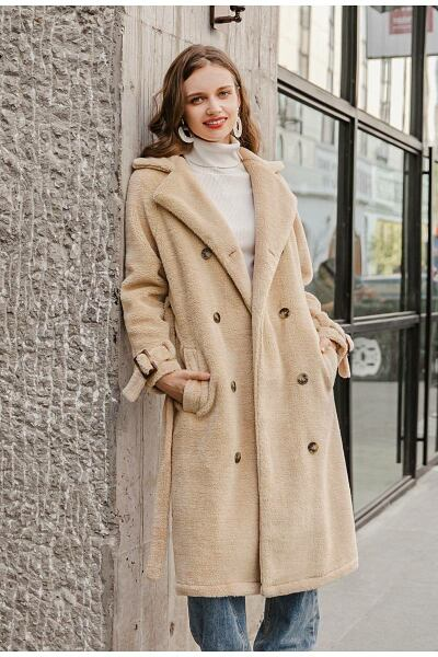 Elegant solid double breasted hairy women coat Ads WOMEN Ads Women COATS Ads Women FASHION WOMEN Women FASHION Womens COATS