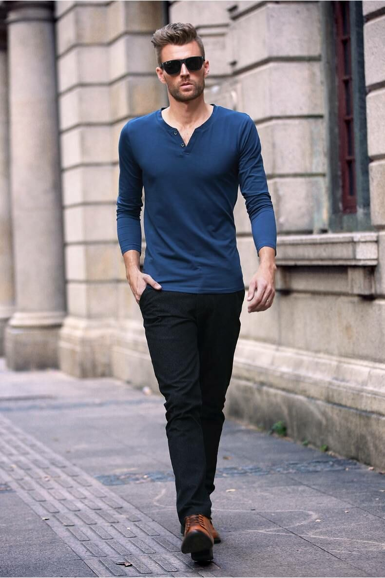 Long sleeve men t-shirt with v-neck Ads MEN Ads Men FASHION Ads Men T-SHIRTS MEN Men FASHION Mens T-SHIRTS