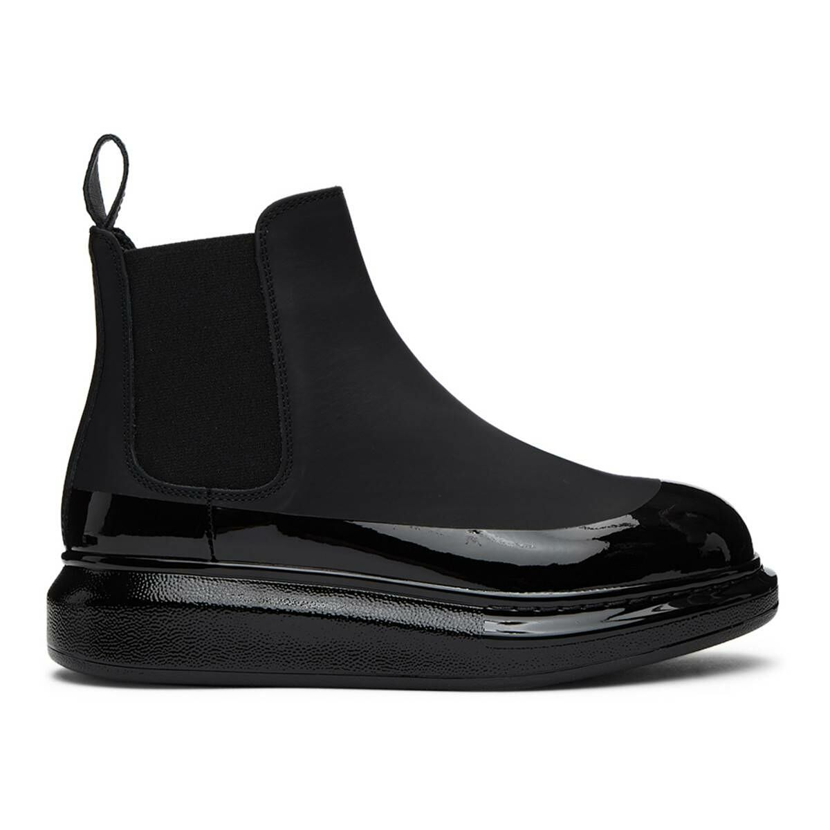 Alexander McQueen Black Coated Hybrid Chelsea Boots Ssense USA WOMEN Women SHOES Womens ANKLE BOOTS