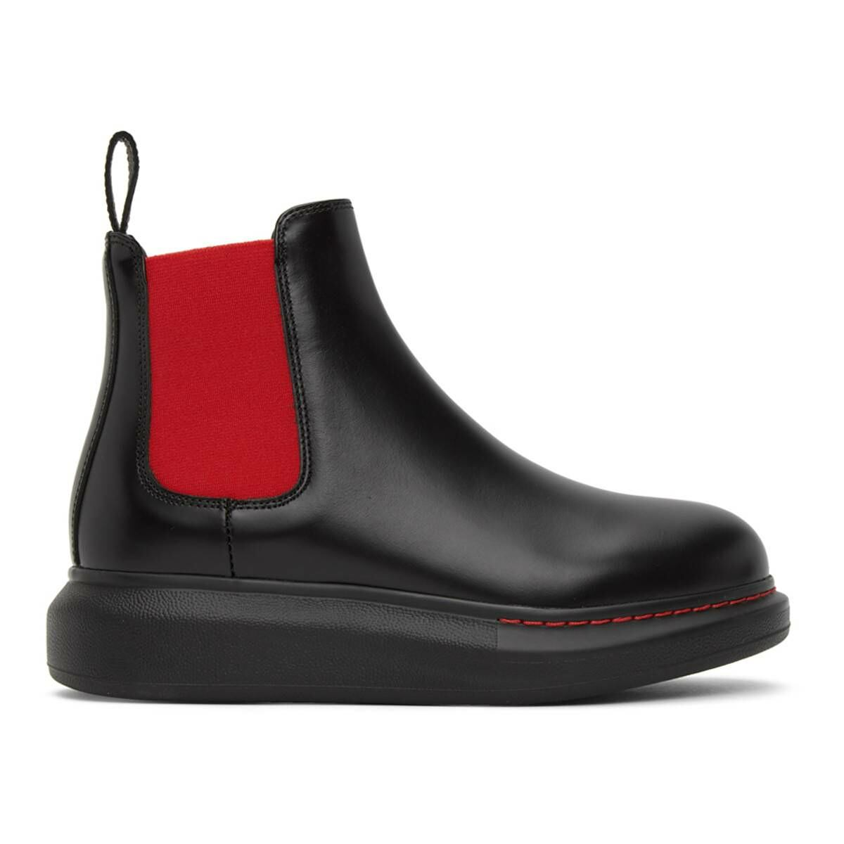 Alexander McQueen Black and Red Contrast Sole Hybrid Chelsea Boots Ssense USA WOMEN Women SHOES Womens ANKLE BOOTS