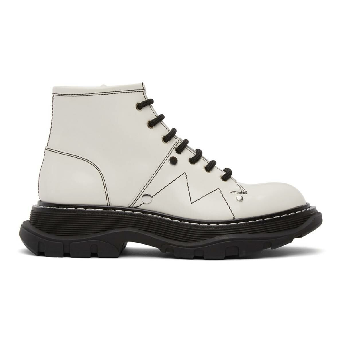 Alexander McQueen Off-White Tread Lace-Up Boots Ssense USA WOMEN Women SHOES Womens ANKLE BOOTS
