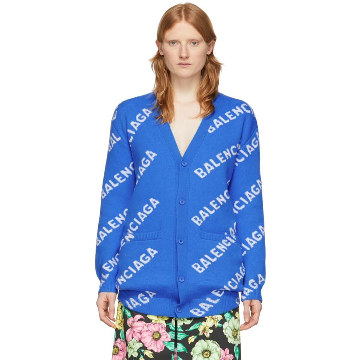 Balenciaga Blue and White All Over Logo Cardigan Ssense USA WOMEN Women FASHION Womens KNITWEAR