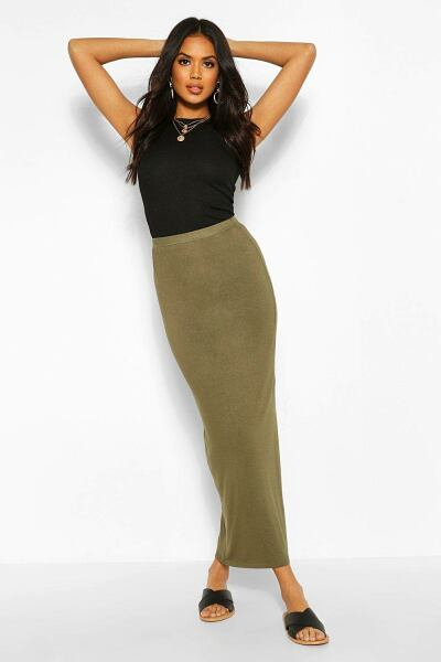 Boohoo Womens Basic Contrast Waist Jersey Maxi Skirt UK WOMEN Women FASHION Womens SKIRTS