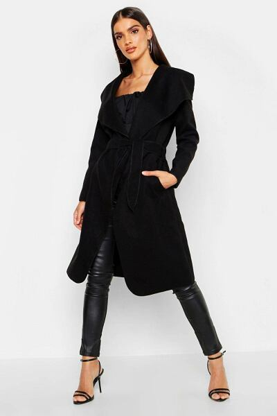 Boohoo Womens Belted Shawl Collar Coat UK WOMEN Women FASHION Womens COATS