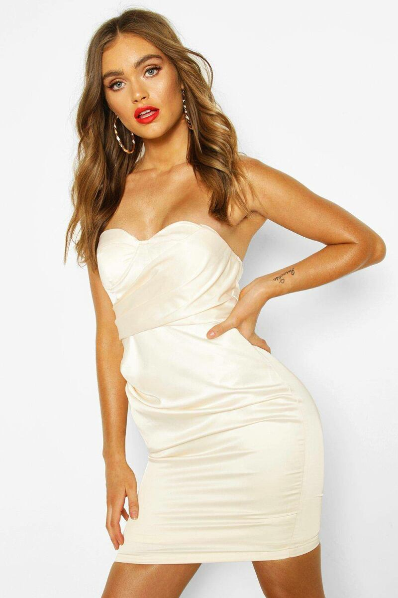 Boohoo Womens Boohoo Occasion Satin Cupped Mini Dress UK WOMEN Women FASHION Womens DRESSES