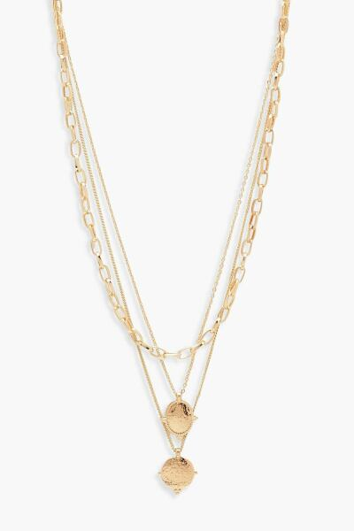 Boohoo Womens Chain And Coin Detail Layered Necklace UK WOMEN Women ACCESSORIES Womens JEWELRY