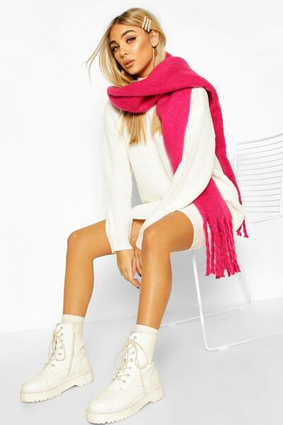 Boohoo Womens Chunky Oversized Fringe Scarf UK WOMEN Women ACCESSORIES Womens SCARFS