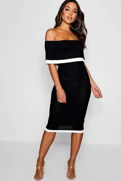 Boohoo Womens Contrast Off The Shoulder Midi Dress UK WOMEN Women FASHION Womens DRESSES