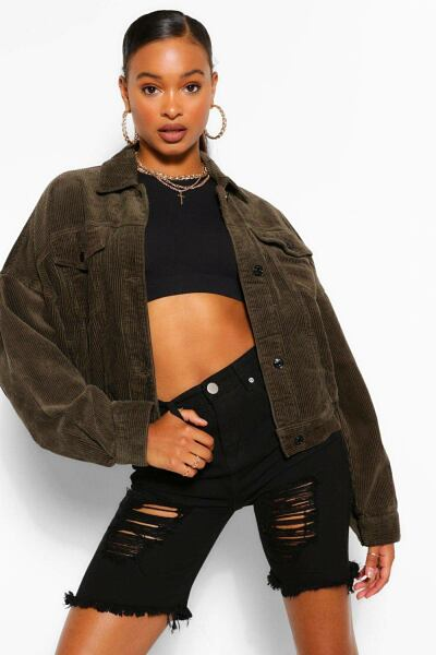 Boohoo Womens Cord Oversized Utility Jacket UK WOMEN Women FASHION Womens JACKETS