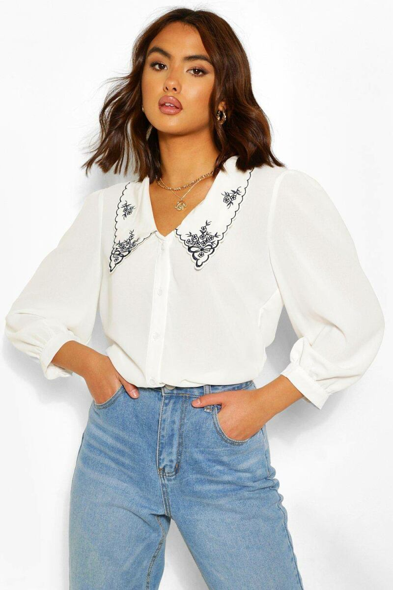 Boohoo Womens Cotton Mix Embroidered Plunge Shirt UK WOMEN Women FASHION Womens BLOUSES