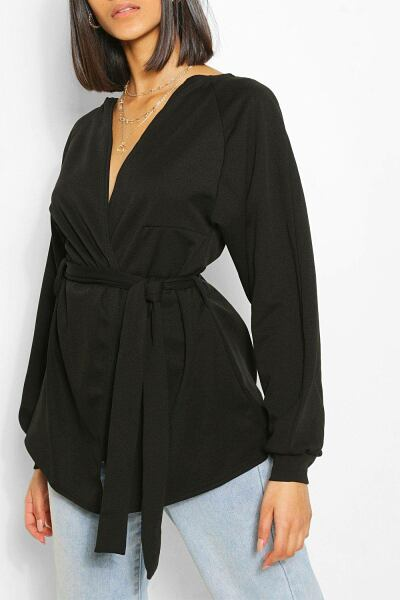 Boohoo Womens Crepe Cuffed Bell Sleeve Mini Tie Kimono UK WOMEN Women FASHION Womens JACKETS