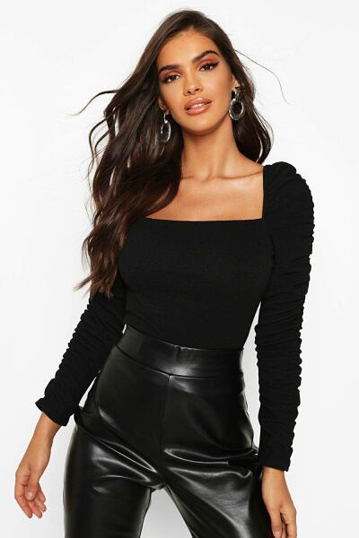 Boohoo Womens Crepe Square Neck Ruched Sleeve Top UK WOMEN Women FASHION Womens TOPS