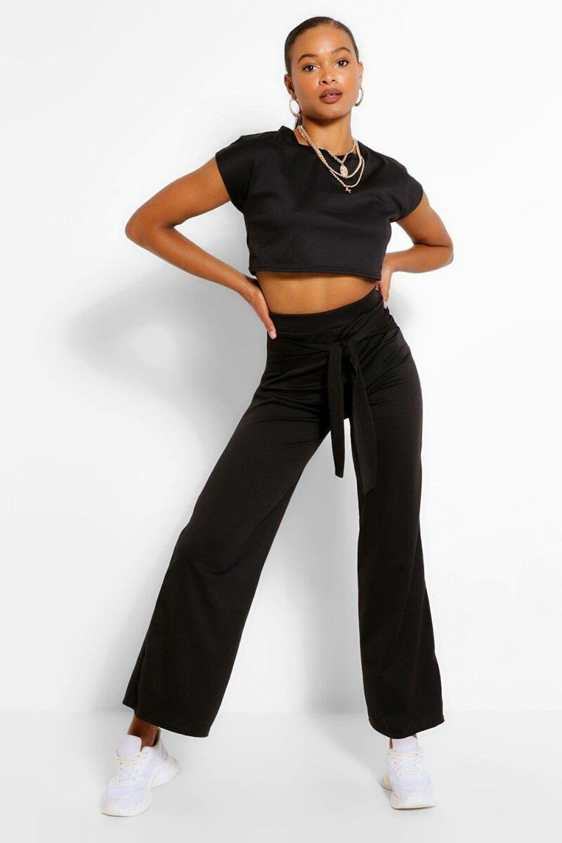 Boohoo Womens Cropped Top And Tie Waist Trouser CoUK WOMEN Women FASHION Womens TROUSERS