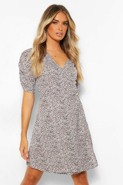 Boohoo Womens Dalmation Wrap Skater Dress UK WOMEN Women FASHION Womens DRESSES