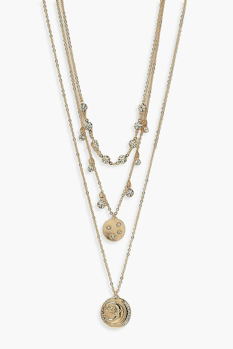 Boohoo Womens Diamante & Coin Layered Necklace UK WOMEN Women ACCESSORIES Womens JEWELRY