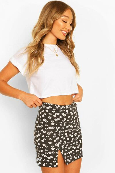 Boohoo Womens Ditsy Floral Side Split Mini Skirt UK WOMEN Women FASHION Womens SKIRTS