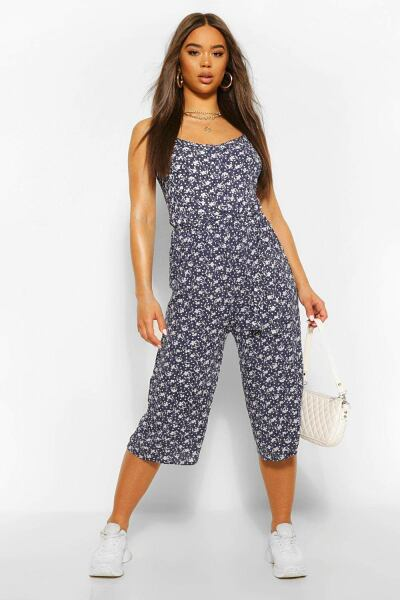 Boohoo Womens Ditsy Floral Woven Self Belted Culotte Jumpsuit UK WOMEN Women FASHION Womens JUMPSUITS