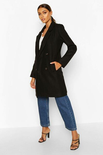 Boohoo Womens Double Breasted Slim Fit Wool Look Coat UK WOMEN Women FASHION Womens COATS
