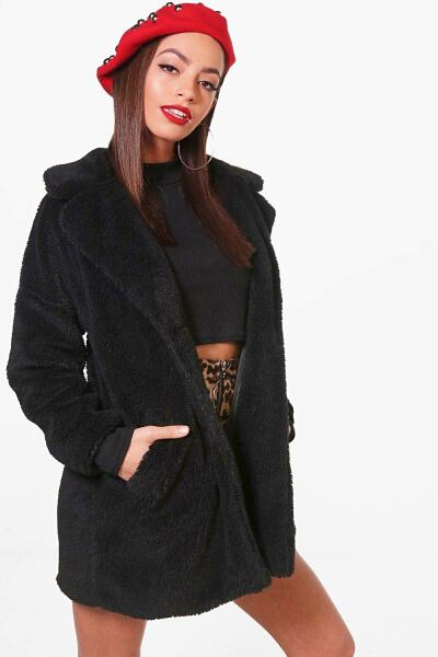 Boohoo Womens Faux Fur Teddy Coat UK WOMEN Women FASHION Womens COATS