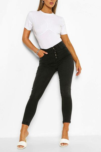 Boohoo Womens High Rise Exposed Button Stretch Skinny Jean UK WOMEN Women FASHION Womens JEANS