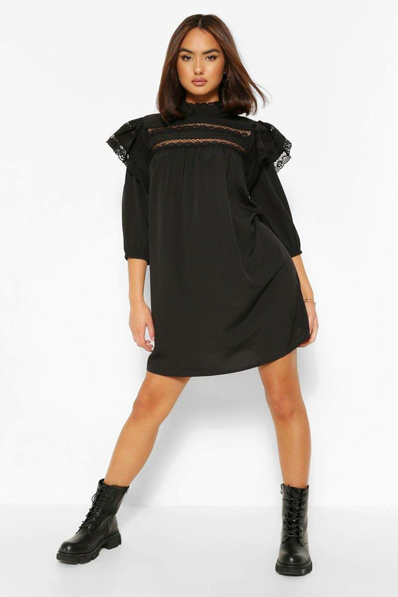 Boohoo Womens Lace Trim Layered Sleeve Smock Dress UK WOMEN Women FASHION Womens DRESSES