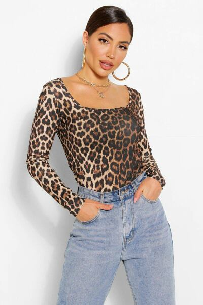 Boohoo Womens Leopard Square Neck Long Sleeve Top UK WOMEN Women FASHION Womens TOPS