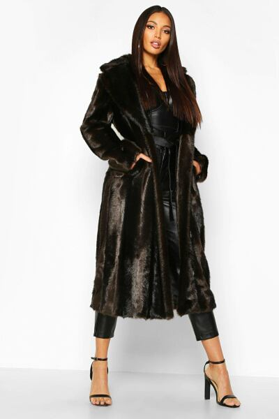 Boohoo Womens Longline Vintage Faux Fur Coat UK WOMEN Women FASHION Womens COATS