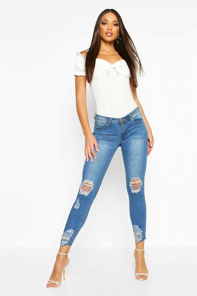 Boohoo Womens Mid Rise Distressed Knee And Ankle Skinny Jeans UK WOMEN Women FASHION Womens JEANS