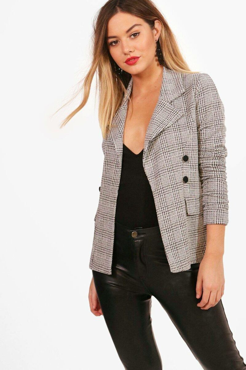 Boohoo Womens Petite Check Button Sleeve Blazer UK WOMEN Women FASHION Womens BLAZER