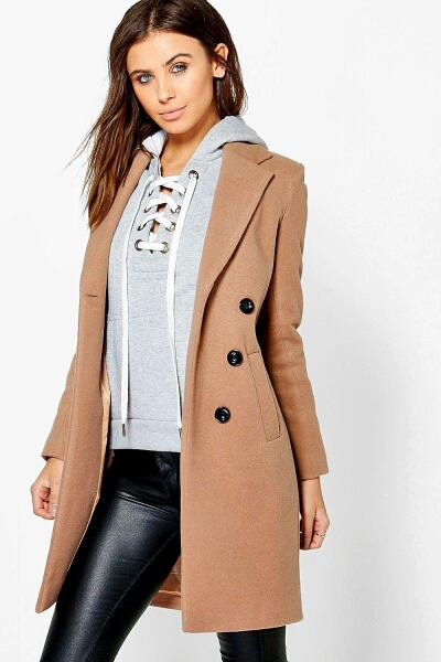 Boohoo Womens Petite Double Breasted Camel Duster Coat UK WOMEN Women FASHION Womens COATS