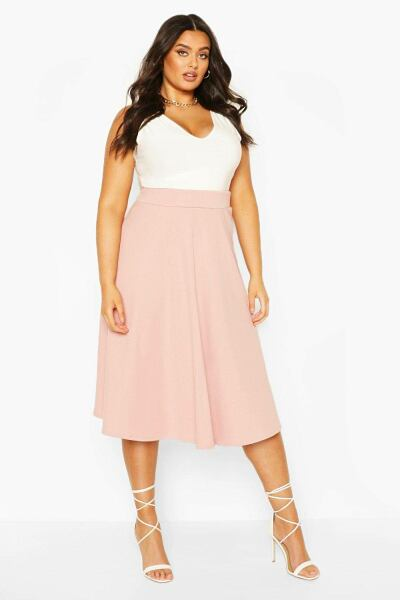Boohoo Womens Plus Bandage Rib Midi Skater Skirt UK WOMEN Women FASHION Womens SKIRTS