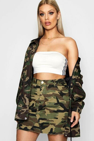 Boohoo Womens Plus Camo Denim Skirt UK WOMEN Women FASHION Womens SKIRTS