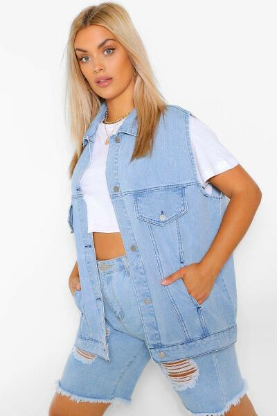 Boohoo Womens Plus Denim Sleeveless Denim Jacket UK WOMEN Women FASHION Womens JACKETS