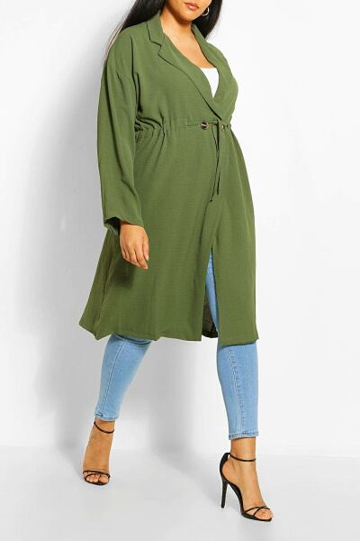 Boohoo Womens Plus Double Breasted Drawstring Waist Duster Coat UK WOMEN Women FASHION Womens COATS