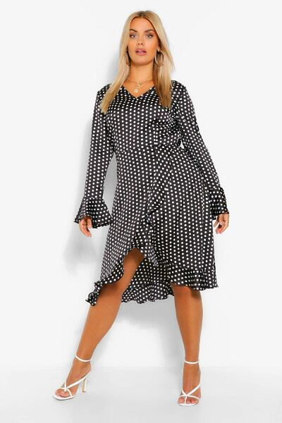 Boohoo Womens Plus Polka Dot Satin Ruffle Wrap Dress UK WOMEN Women FASHION Womens DRESSES