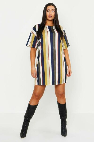 Boohoo Womens Plus Tonal Stripe Short Sleeved Shirt Dress UK WOMEN Women FASHION Womens DRESSES
