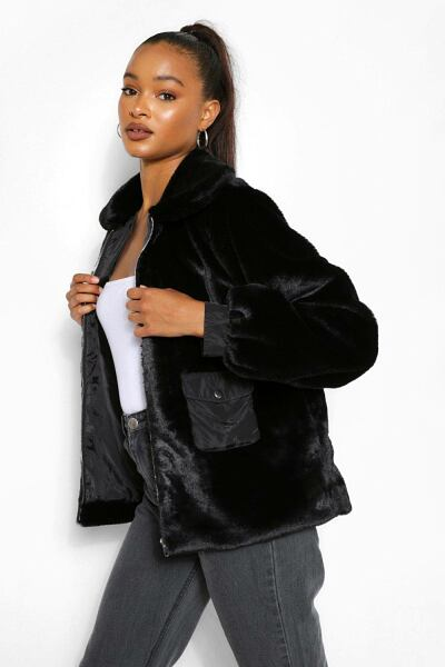 Boohoo Womens Pocket Detail Faux Fur Jacket UK WOMEN Women FASHION Womens COATS