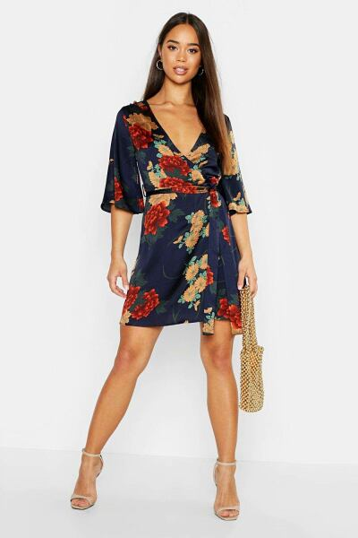 Boohoo Womens Satin Floral Satin Wrap Dress UK WOMEN Women FASHION Womens DRESSES