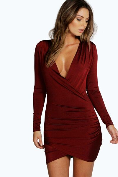 Boohoo Womens Slinky Drape Front Sleeve Bodycon Dress UK WOMEN Women FASHION Womens DRESSES