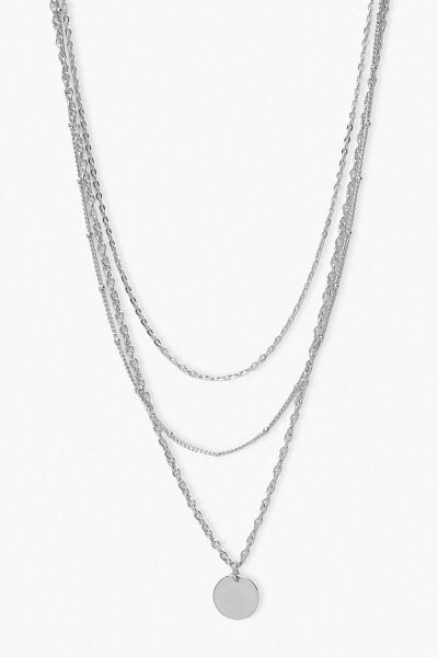 Boohoo Womens Smooth Disc Layered Necklace UK WOMEN Women ACCESSORIES Womens JEWELRY