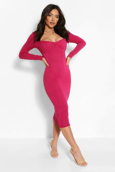 Boohoo Womens Square Neck Rouched Cup Detail Midi Dress UK WOMEN Women FASHION Womens DRESSES