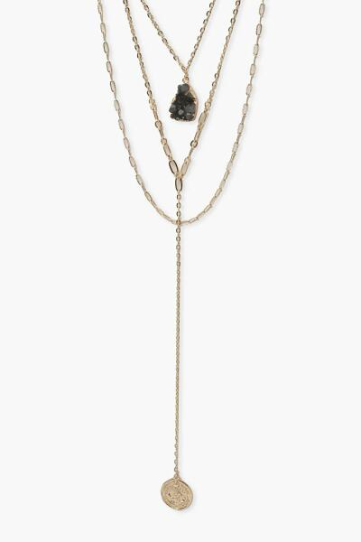 Boohoo Womens Stone And Coin Plunge Necklace UK WOMEN Women ACCESSORIES Womens JEWELRY