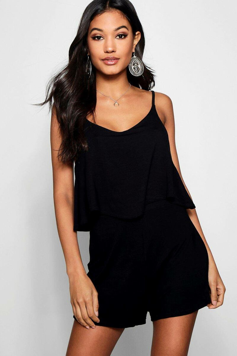 Boohoo Womens Strappy Cami Overlay Playsuit UK WOMEN Women FASHION Womens JUMPSUITS