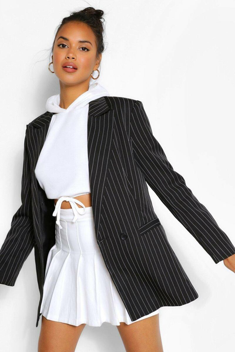 Boohoo Womens Tailored Pinstripe Contrast Button Blazer UK WOMEN Women FASHION Womens BLAZER