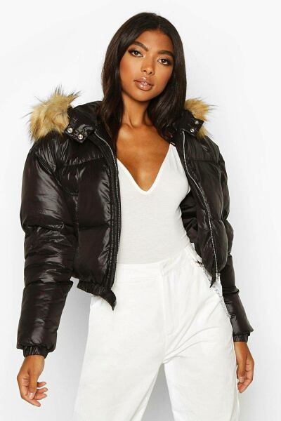 Boohoo Womens Tall Faux Fur Hooded Crop Padded Coat UK WOMEN Women FASHION Womens JACKETS