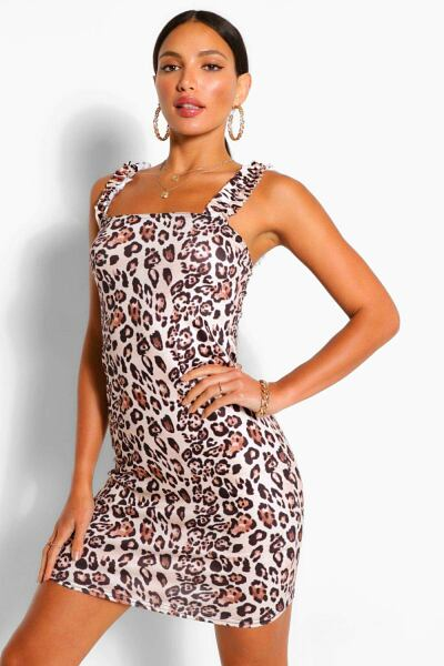 Boohoo Womens Tall Leopard Print Mini Sun Dress UK WOMEN Women FASHION Womens DRESSES